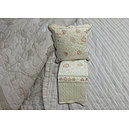 Couvre lit boutis écru coeur rouge + 2 taies d'oreiller