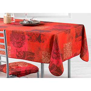 Nappe rectangle 150x240 cm antitache rouge motif moderne