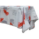 Nappe rectangle 145x240 cm antitache blanche coquelicots rouges