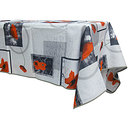 Nappe rectangle 145x240 antitache blanche print coquelicot rouge