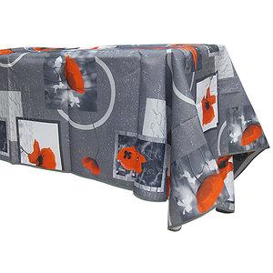Nappe rectangle 145x240 antitache grise print coquelicot rouge
