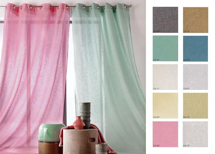 rideau voile aspect lin 145x260 cm voilage pr t poser voilage pas cher. Black Bedroom Furniture Sets. Home Design Ideas