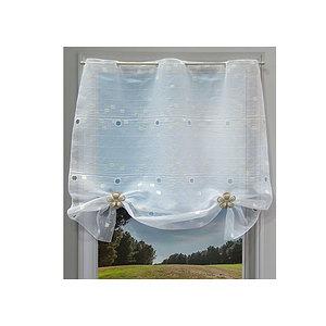 Petit rideau blanc motif pavé