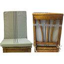 Coussin de chaise à dossier déhoussable rayée écru et lin