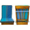 Coussin de chaise à dossier déhoussable rayée bleu et turquoise