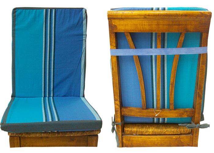Coussin de chaise dossier d houssable ray e bleu et - Coussin de chaise dehoussable ...