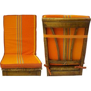Coussin de chaise à dossier déhoussable rayée orange et ocre