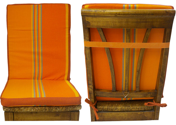 coussin de chaise dossier d houssable ray e orange et ocre coussin de chaise carr. Black Bedroom Furniture Sets. Home Design Ideas
