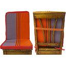 Coussin de chaise à dossier déhoussable rayée orange et gris