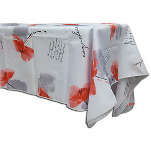 Nappe ronde 160 cm antitache blanche coquelicots rouges
