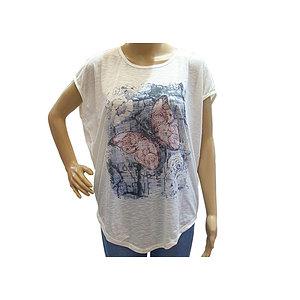 T shirt ivoire motif papillon