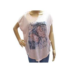 T shirt rose motif papillon