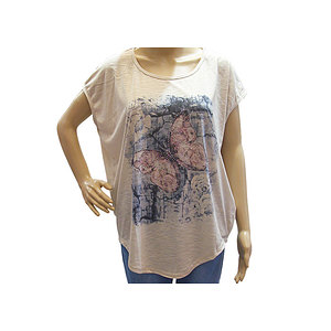 T shirt beige motif papillon