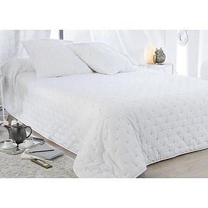 couvre lit boutis leonie 2 taies d 39 oreiller couvre lit blanc boutis haut de gamme. Black Bedroom Furniture Sets. Home Design Ideas