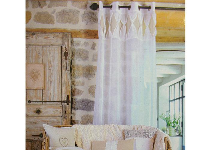 rideau voilage polyester jeena blanc et lin voilage pr t. Black Bedroom Furniture Sets. Home Design Ideas