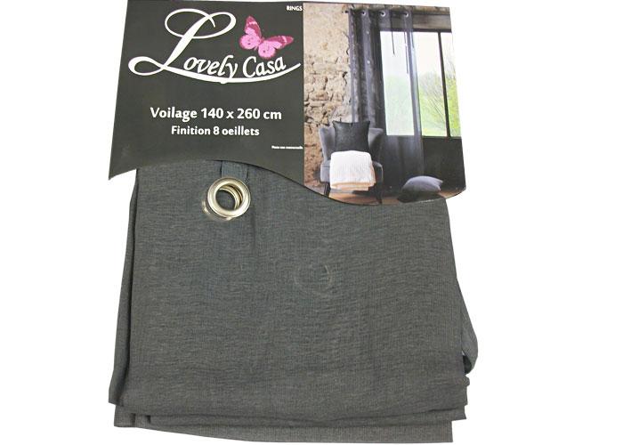 rideau voilage ring gris anthracite voilage pr t poser voilage pas cher. Black Bedroom Furniture Sets. Home Design Ideas