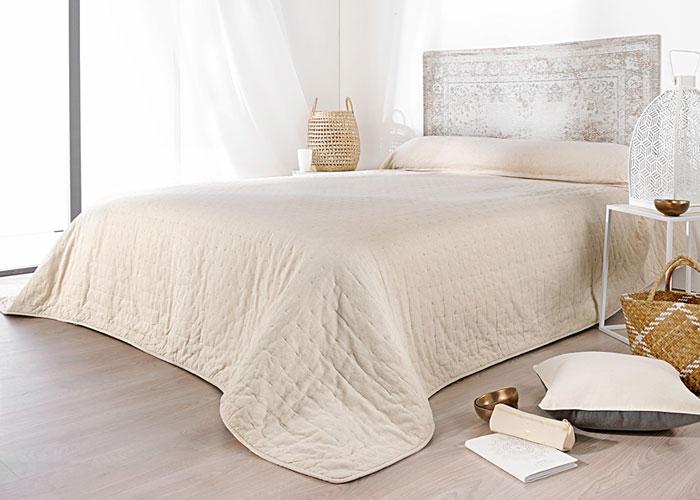 Couvre lit boutis manosque coloris naturel blanc ivoire - Couvre lit pour grand lit ...