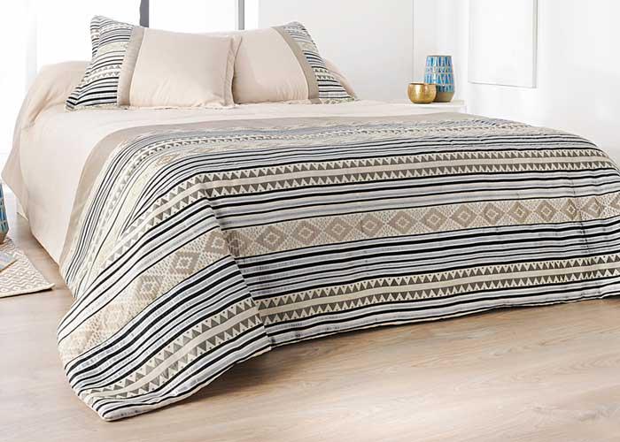 couvre lit boutis inca beige 2 taies d 39 oreiller couvre lit 1 ou 2 personnes. Black Bedroom Furniture Sets. Home Design Ideas