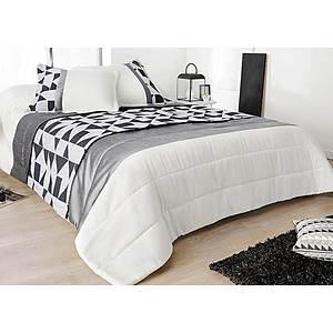 couvre lit 2 personnes gris Couvre lit Boutis BINGO + 2 taies d'oreiller   Jeté de lit gris et  couvre lit 2 personnes gris