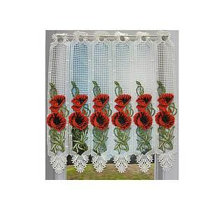 Petit rideau cantonnière macramé écru PAVOT COQUELICOT rouge