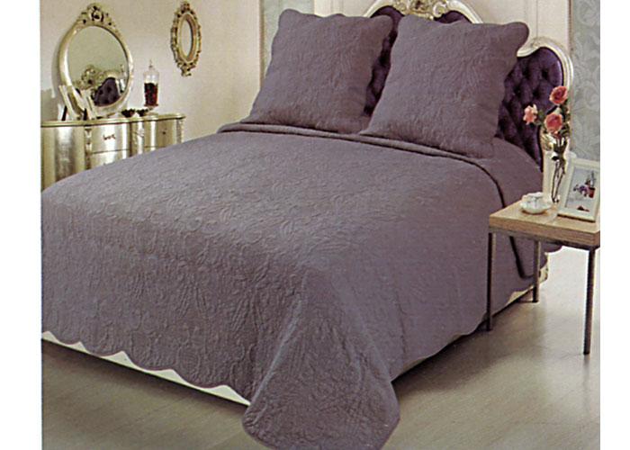 couvre lit boutis plaisance gris 230x250 cm pour lit 2 places de 140 cm. Black Bedroom Furniture Sets. Home Design Ideas