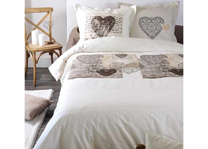 parure housse de couette pelonnier beige pour lit 1 personne ou 2 personnes. Black Bedroom Furniture Sets. Home Design Ideas