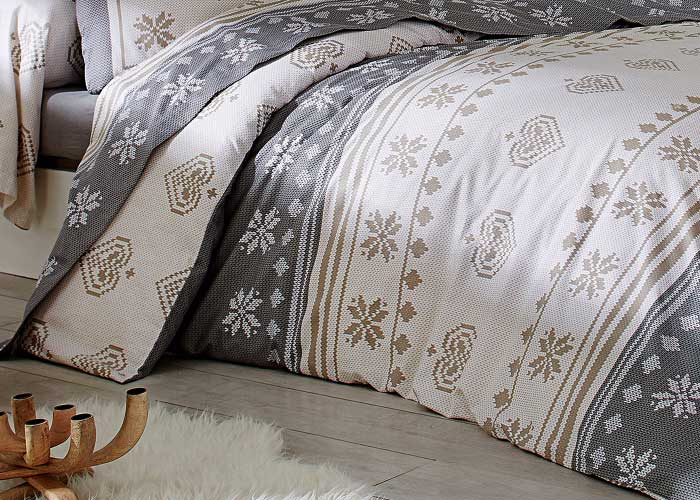 parure de lit flanelle shetland grise beige et cru parure de draps lit 2 places de 140 cm. Black Bedroom Furniture Sets. Home Design Ideas