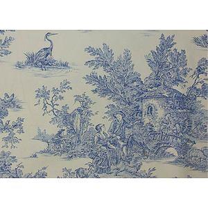 Tissu 100% coton motif Toile de Jouy en 240 cm de large
