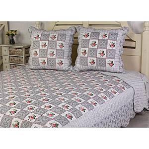 Couvre lit boutis patchwork motif roses
