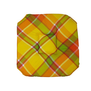 Galette de chaise à rabats madras jaune