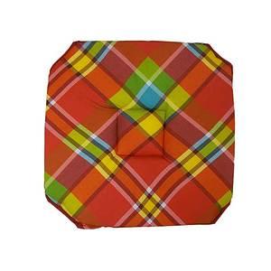Galette de chaise à rabats madras rouge