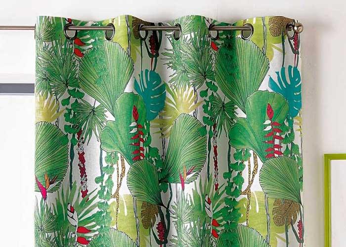 Rideau Imprimé Jungle 140x240 Cm Prêt à Poser Finition à Oeillets Ronds