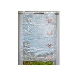 Petit rideau kaolin brodé tulipes et feuilles en tissu vichy