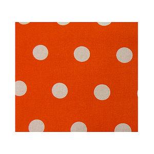 Tissu 100% coton orange à pois blancs