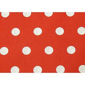 Tissu 100% coton rouge à pois blancs