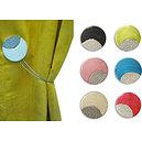 Embrasse magnétique ronde résine nacrée et incrustation aluminium