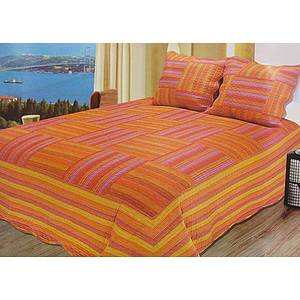 Boutis patchwork rayé orange et rose + 2 taies d'oreiller