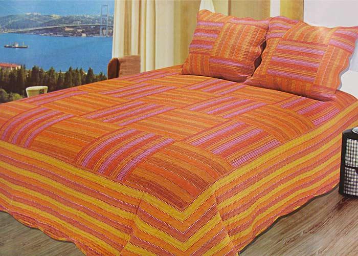boutis patchwork ray orange et rose 2 taies d 39 oreiller jet de lit 230x250 cm lit 2 places. Black Bedroom Furniture Sets. Home Design Ideas