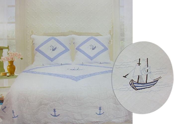 couvre lit mer Couvre lit boutis écru thème mer + 2 taies d'oreiller. Jeté de lit  couvre lit mer