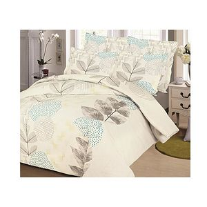 Housse de couette FEUILLE TAUPE + 2 taies