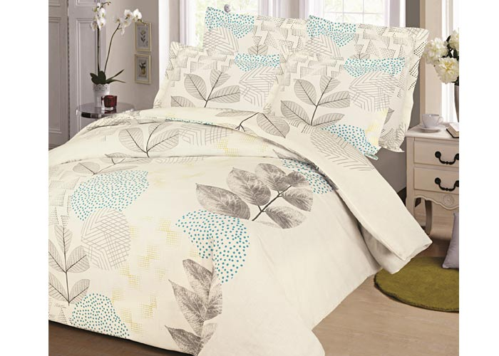 parure de draps 4 pi ces pour lit 2 personnes de 140 cm feuille taupe. Black Bedroom Furniture Sets. Home Design Ideas