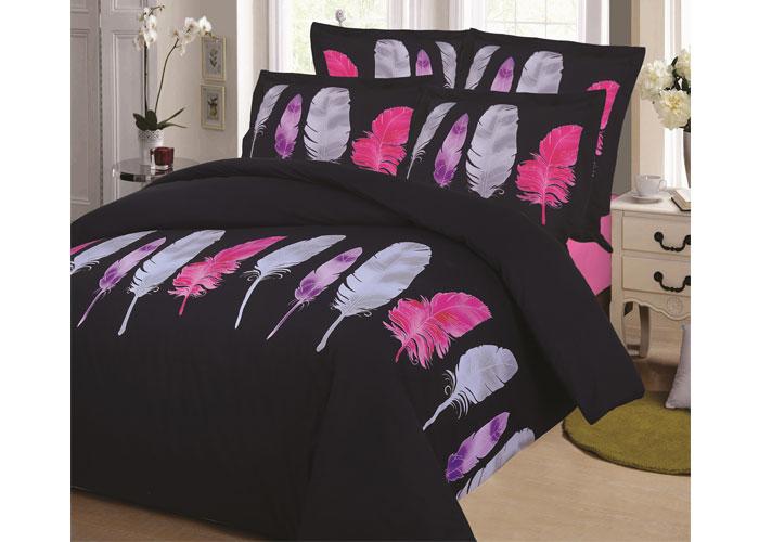 parure de draps 4 pi ces pour lit 2 personnes de 140 cm plume gris. Black Bedroom Furniture Sets. Home Design Ideas