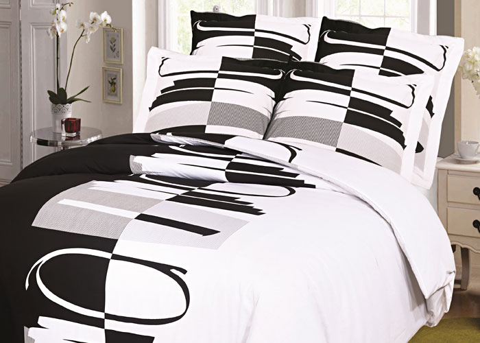 parure de draps 4 pi ces pour lit 2 personnes de 140 cm rond noir. Black Bedroom Furniture Sets. Home Design Ideas