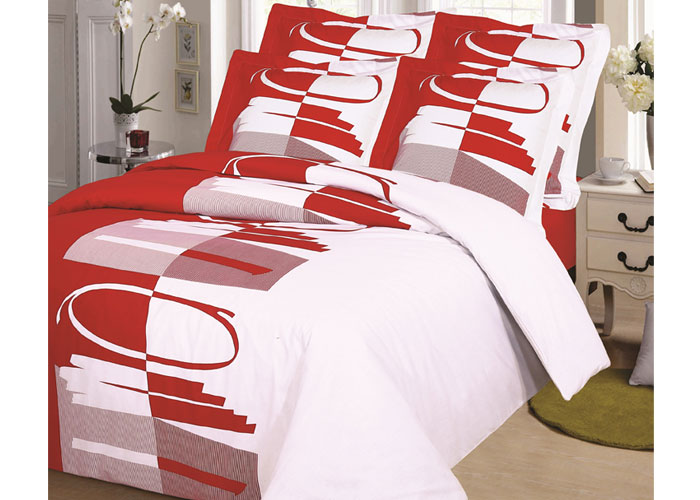 parure de draps 4 pi ces pour lit 2 personnes de 140 cm rond rouge. Black Bedroom Furniture Sets. Home Design Ideas