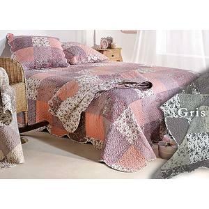 Couvre lit Boutis ZOE gris patchwork romantique