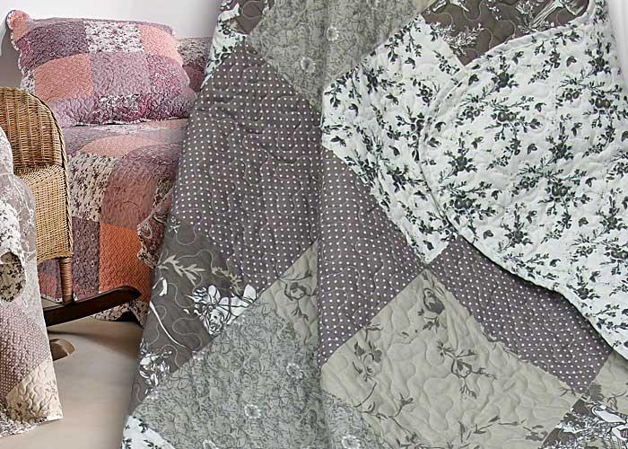 couvre lit ou plaid boutis zoe gris patchwork romantique 230x250 cm pour lit deux personnes. Black Bedroom Furniture Sets. Home Design Ideas
