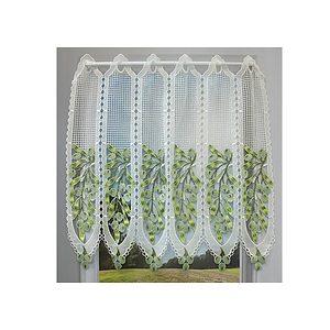 Petit rideau cantonnière macramé motif olives vertes