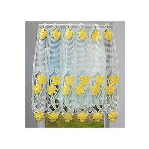 Petit rideau cantonnière macramé motif jonquilles