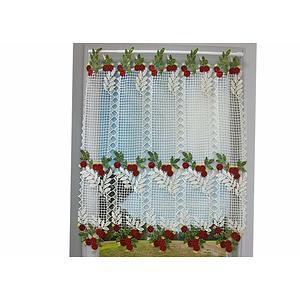 Petit rideau cantonnière macramé motif cerises rouges