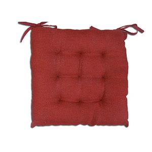 Galette de chaise 40x40 cm jute rouge